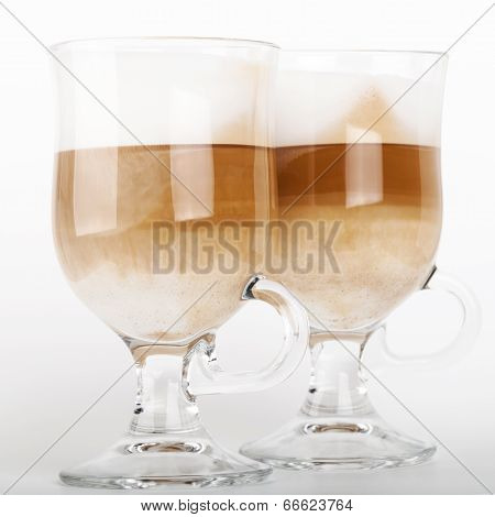Two Big Glass Mugs With Handles Of Latte Coffee, Macro Photo