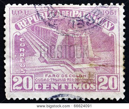 Postage Stamp Paraguay 1952 Columbus Lighthouse