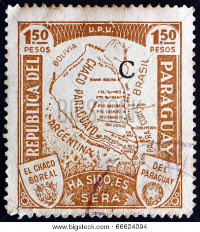 Postage Stamp Paraguay 1935 Map Of Gran Chaco