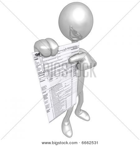 3D Character With Tax Forms