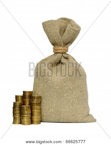 Money Bag And Coins.