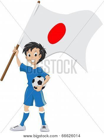 Happy soccer fan holds Japanese flag