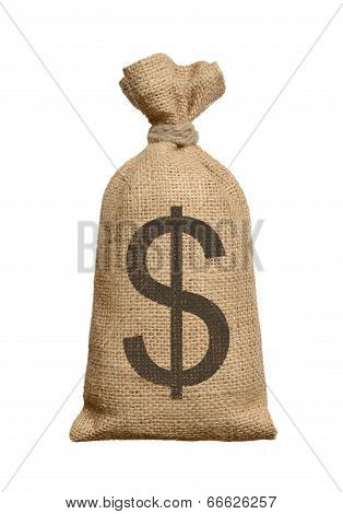 Money Bag With Dollars.