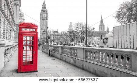 London red phone box and Big Ben on black and white landscape