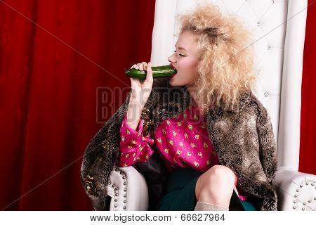 Princess Woman In Fur Coat Sitting On Throne