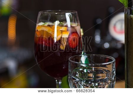 Alcohol Cocktail In Glass On Bar For Party