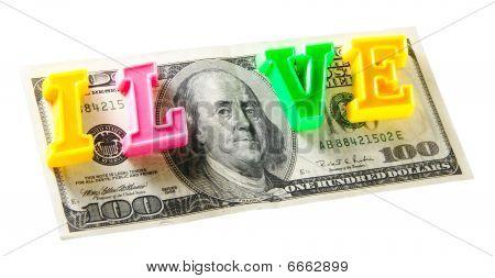 I Love Money - 100 Dollars, Isolated On White