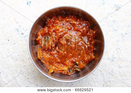 Spicy tomato relish / chutney made with Indian spices