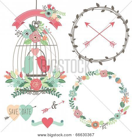 Vintage Wedding Flowers and Birdcage