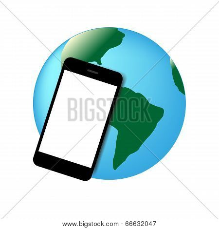 Mobil phone world vector illustration