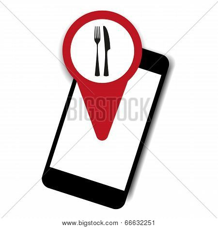 Mobile phone restaurant vector
