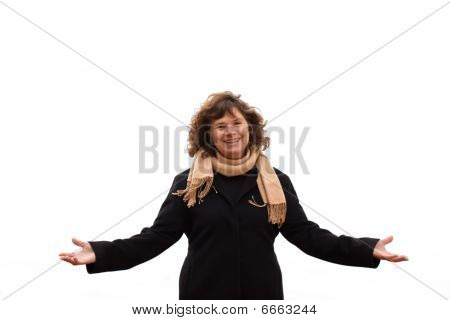 Portrait  Of Mature Woman Showing Victory