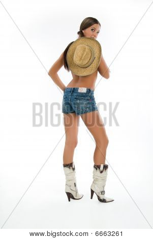 Woman In Boots With Hat