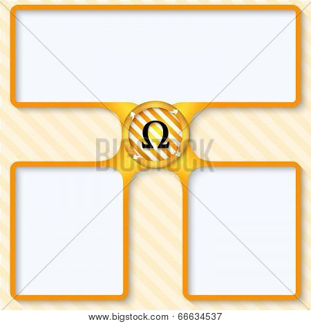 Three Boxes For Entering Text With Arrows And Omega Symbol