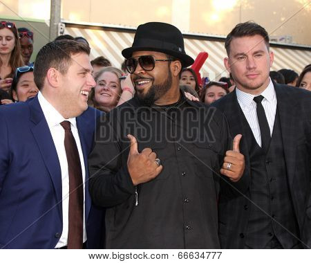 LOS ANGELES - JUN 10:  Jonah Hill, Ice Cube, Channing Tatum at the