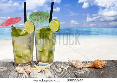 Refreshing Cocktail On Wooden Boards