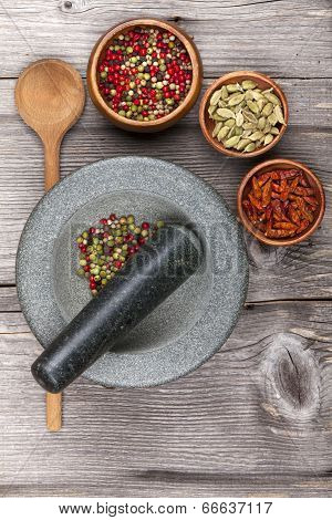 Mortar And Pestle With Fresh Spices