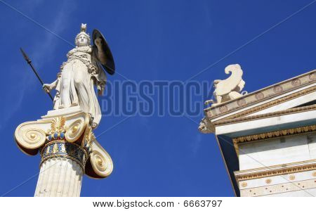 Statue Of Athena Outside Academy Of Athens, Greece.
