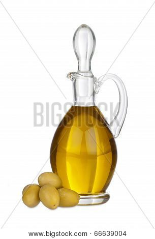 Glass Carafe With Olive Oil And Olives