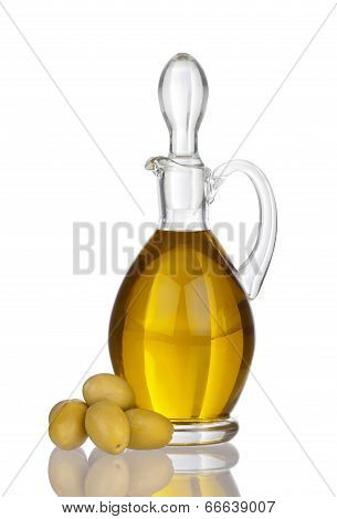 Glass Carafe With Olive Oil, Olives And Real Reflection