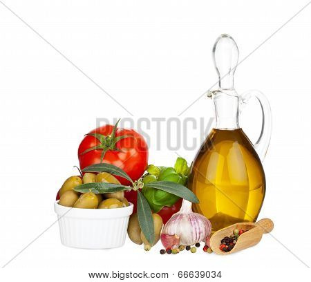 Glass Carafe With Olive Oil And Other Ingredients