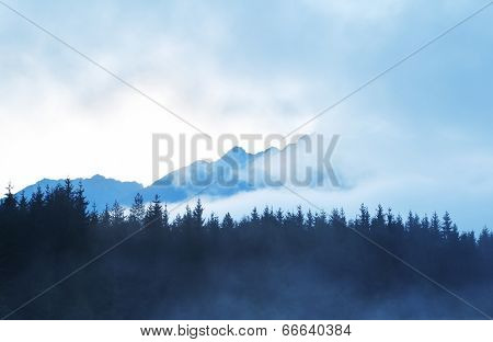 Mountain Silhouette In Morning Fog