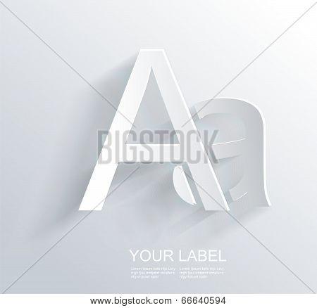 Letter A, White Paper Symbol Icon