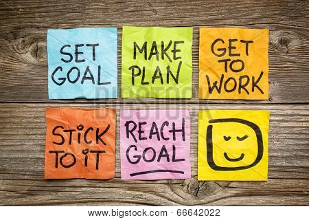 set goal, make plan, work, stick to it, reach goal - a success concept presented with colorful stick poster