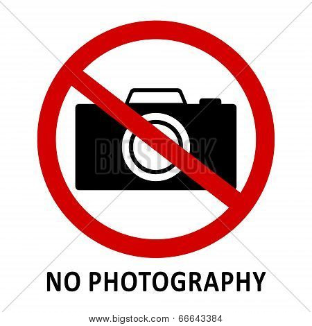 No Photography Sign, Vector