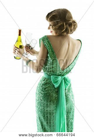Woman Whit Champagne Wine Glasses, Elegant Lady Celebration Party, Sensual Girl In Evening Retro Dre