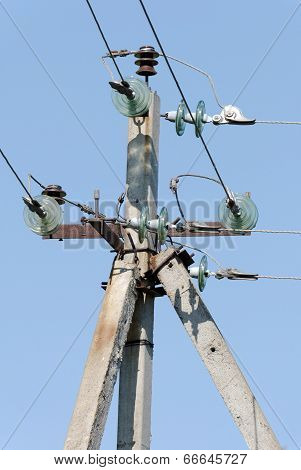 Angular support of the high voltage line with glass insulators and electric wires