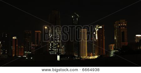 Doha Towers And Moon