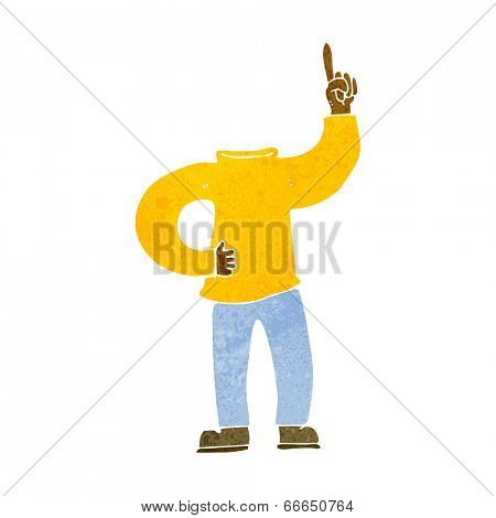 cartoon headless body with raised hand
