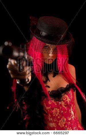 Attractive Girl Pointing Gun At Camera