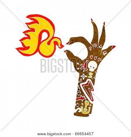 cartoon tattoo arm fire symbol