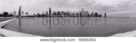 Chicago skyline in winter