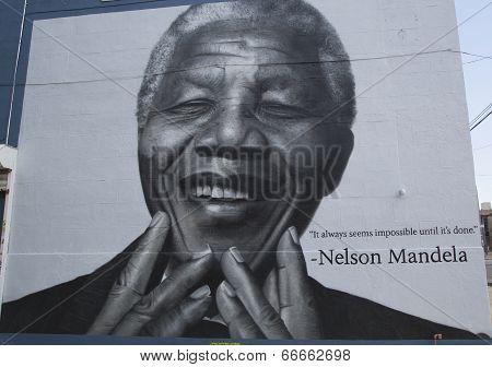 Nelson Mandela mural in Williamsburg section in Brooklyn