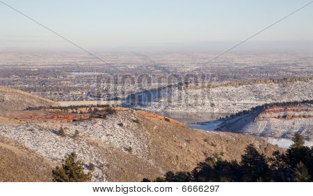 Hazy Winter View Of Colorado Plains And Fort Collins