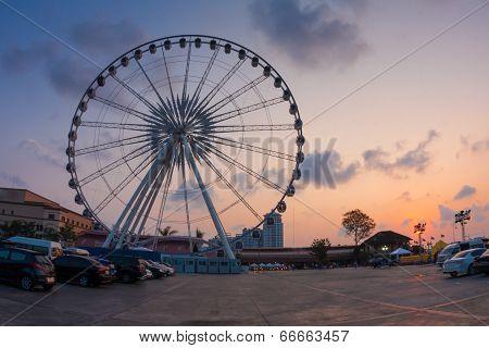 Ferris Wheel On Sunset