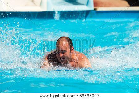 Man At Water Park