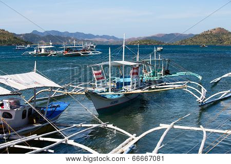 Filipino Boat In The Sea, Coron, Philippines