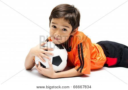 Little Boy With Football On White Background
