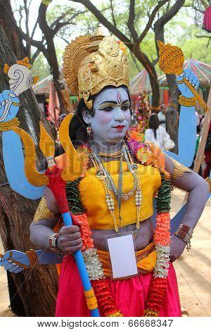 Surjajkund Fair, Haryana - Feb 12 : Artist In Vishnu Avatar At Surajkund Mela
