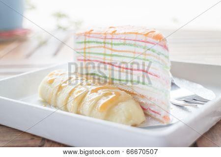 Sweet Dessert Of Banana Caramel Crepe Cake