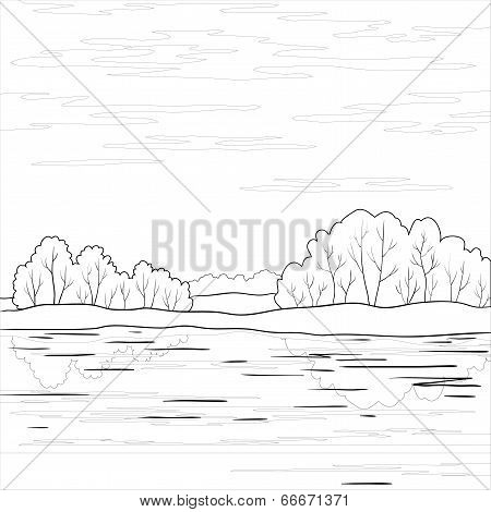 Landscape. Forest river, outline