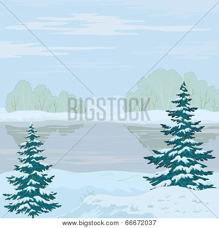 Winter landscape. Forest river