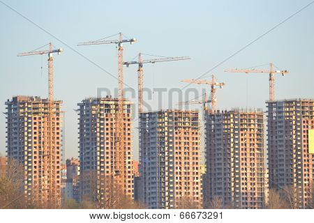 Houses Under Construction On The Outskirts Of St. Petersburg