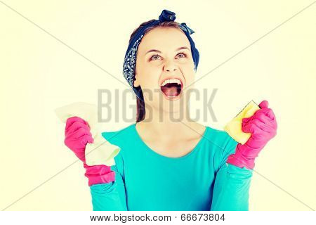 Tired and exhausted cleaning woman screaming loud