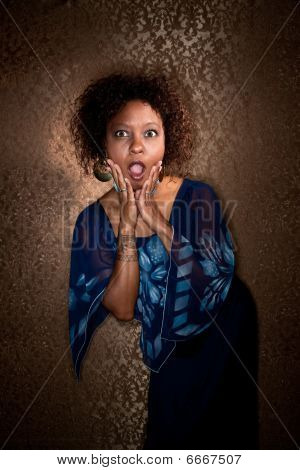 Pretty African American Woman In Blue Dress