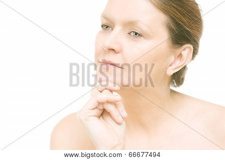 Attractive Mid Adult Woman, Female Face Of Beautiful Caucasian
